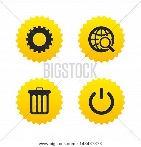 Globe magnifier glass and cogwheel gear icons. Recycle bin delete and power sign symbols. Yellow stars labels with flat icons. Vector