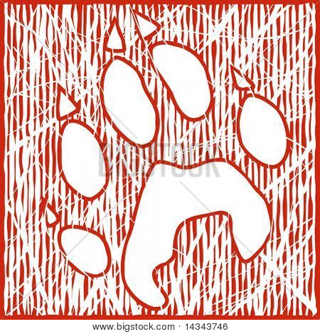 Editable vector illustration of a wolf paw print