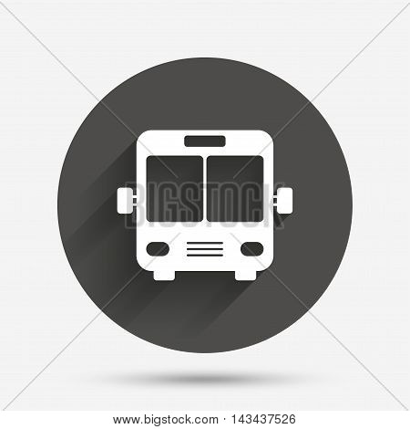 Bus sign icon. Public transport symbol. Circle flat button with shadow. Vector