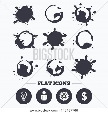 Paint, coffee or milk splash blots. Business icons. Human silhouette and lamp bulb idea signs. Dollar currency and gear symbols. Smudges splashes drops. Vector