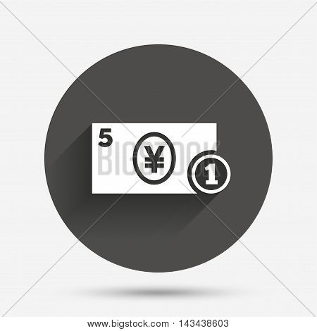 Cash sign icon. Yen Money symbol. JPY Coin and paper money. Circle flat button with shadow. Vector