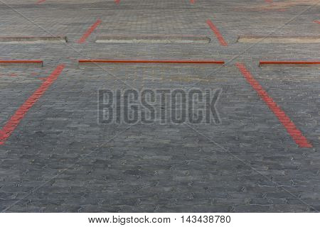 Red Line Block For Car Park Paint On Road