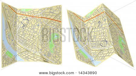 Editable vector illustration of two folded generic maps with no names