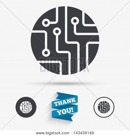 Circuit board sign icon. Technology scheme circle symbol. Flat icons. Buttons with icons. Thank you ribbon. Vector