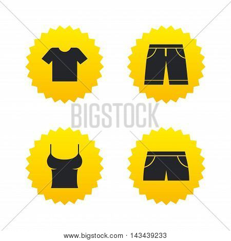 Clothes icons. T-shirt and bermuda shorts signs. Swimming trunks symbol. Yellow stars labels with flat icons. Vector
