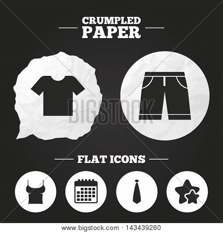 Crumpled paper speech bubble. Clothes icons. T-shirt and bermuda shorts signs. Business tie symbol. Paper button. Vector