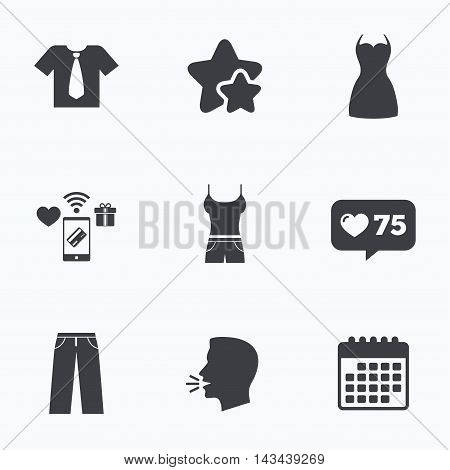 Clothes icons. T-shirt with business tie and pants signs. Women dress symbol. Flat talking head, calendar icons. Stars, like counter icons. Vector