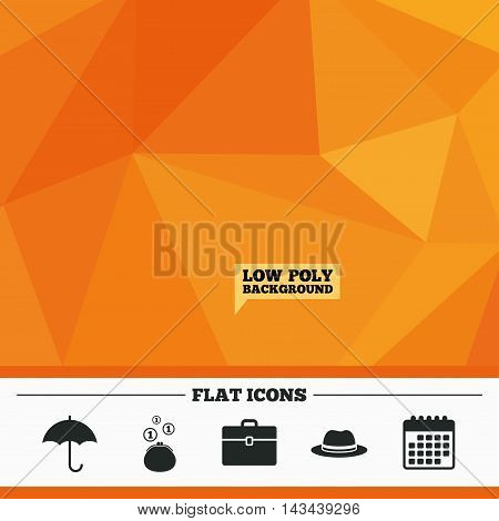 Triangular low poly orange background. Clothing accessories icons. Umbrella and headdress hat signs. Wallet with cash coins, business case symbols. Calendar flat icon. Vector