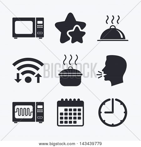Microwave grill oven icons. Cooking pan signs. Food platter serving symbol. Wifi internet, favorite stars, calendar and clock. Talking head. Vector