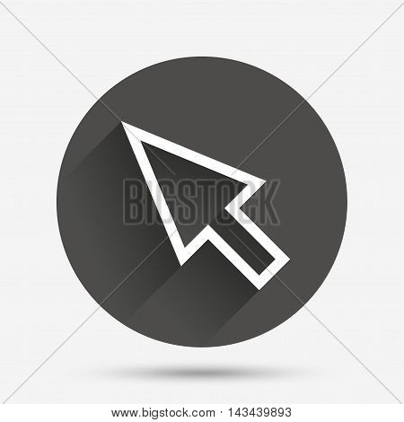 Mouse cursor sign icon. Pointer symbol. Circle flat button with shadow. Vector