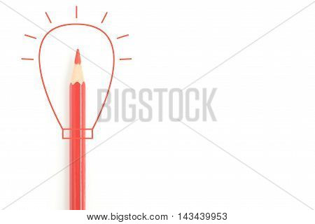 Isolated sharp red colored pencil with red drawing line in light bulb shape - idea concept business