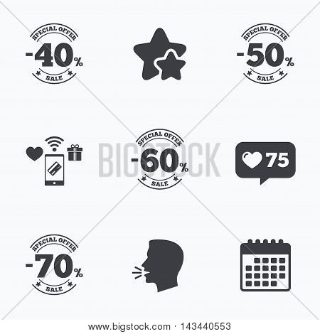 Sale discount icons. Special offer stamp price signs. 40, 50, 60 and 70 percent off reduction symbols. Flat talking head, calendar icons. Stars, like counter icons. Vector