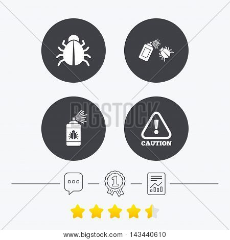 Bug disinfection icons. Caution attention symbol. Insect fumigation spray sign. Chat, award medal and report linear icons. Star vote ranking. Vector