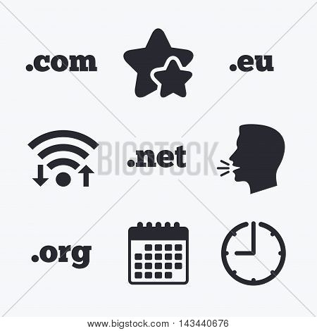 Top-level internet domain icons. Com, Eu, Net and Org symbols. Unique DNS names. Wifi internet, favorite stars, calendar and clock. Talking head. Vector