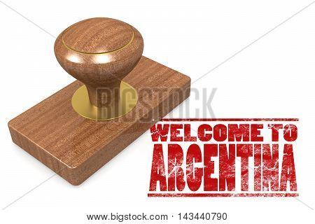 Red Rubber Stamp With Welcome To Argentina
