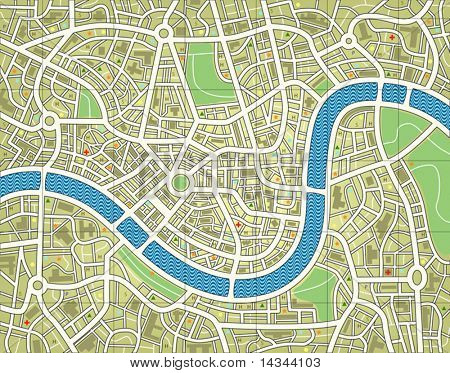 Editable vector illustration of a street map without names