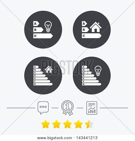 Energy efficiency icons. Lamp bulb and house building sign symbols. Chat, award medal and report linear icons. Star vote ranking. Vector
