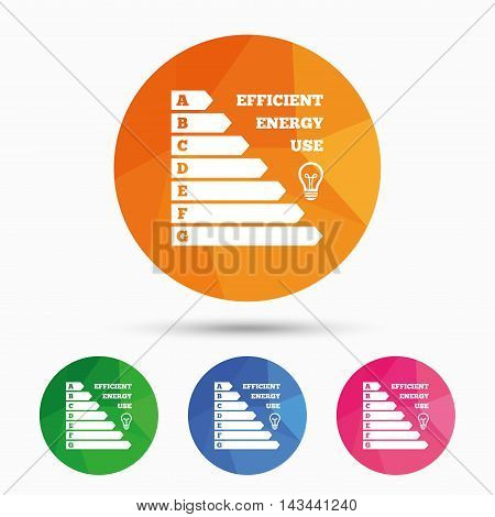 Energy efficiency icon. Electricity consumption symbol. Idea lamp sign. Triangular low poly button with flat icon. Vector