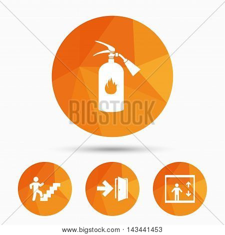 Emergency exit icons. Fire extinguisher sign. Elevator or lift symbol. Fire exit through the stairwell. Triangular low poly buttons with shadow. Vector