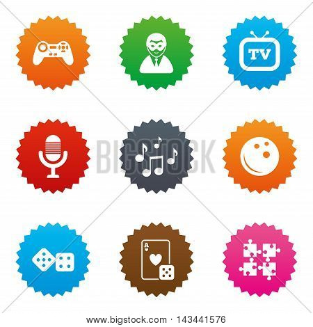 Entertainment icons. Game, bowling and puzzle signs. Casino, carnival and musical note symbols. Stars label button with flat icons. Vector