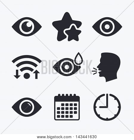 Eye icons. Water drops in the eye symbols. Red eye effect signs. Wifi internet, favorite stars, calendar and clock. Talking head. Vector
