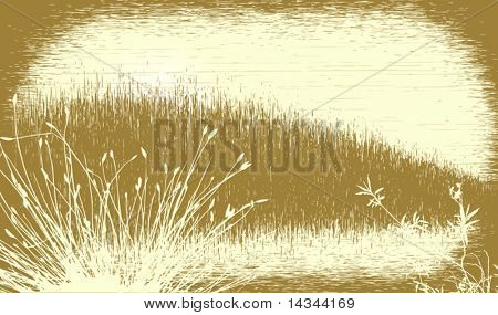 Editable vector illustration of a grassy landscape with grunge. All elements as separate objects.
