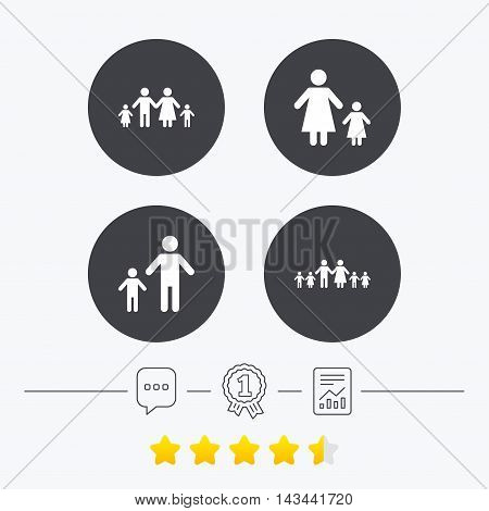 Large family with children icon. Parents and kids symbols. One-parent family signs. Mother and father divorce. Chat, award medal and report linear icons. Star vote ranking. Vector