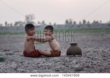 Children with drought in countryside, Thailand .