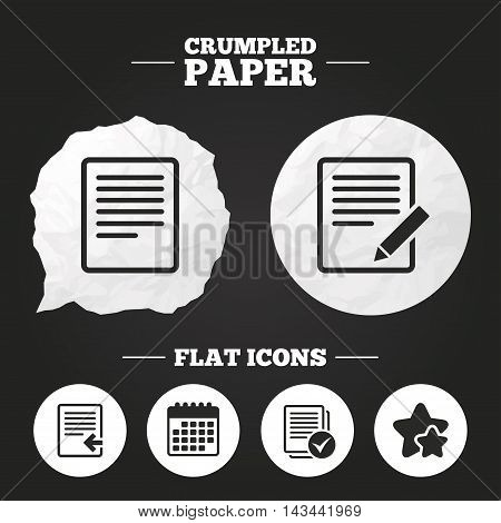 Crumpled paper speech bubble. File document icons. Upload file symbol. Edit content with pencil sign. Select file with checkbox. Paper button. Vector