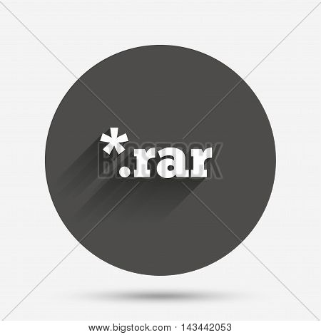 Archive file icon. Download compressed file button. RAR zipped file extension symbol. Circle flat button with shadow. Vector