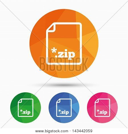 Archive file icon. Download compressed file button. ZIP zipped file extension symbol. Triangular low poly button with flat icon. Vector