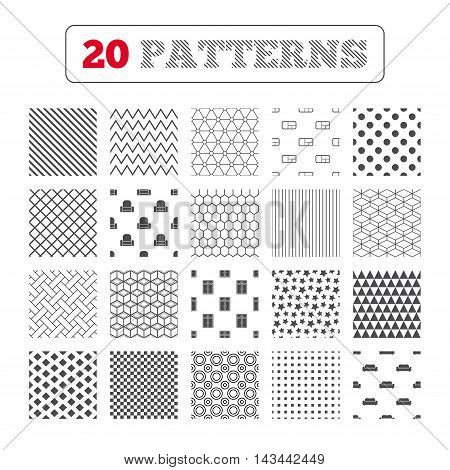 Ornament patterns, diagonal stripes and stars. Furniture icons. Sofa, cupboard, and book shelf signs. Modern armchair symbol. Geometric textures. Vector