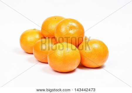 Mandarin Orange fruit fresh ripe healthy skin on white background