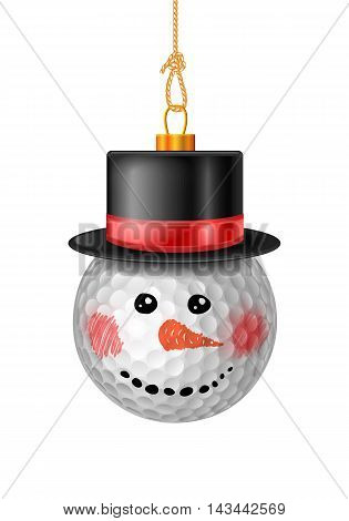 Golf Ball Bauble In Black Hat