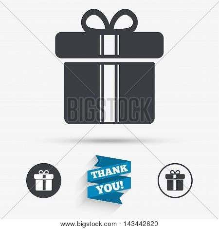 Gift box sign icon. Present with ribbons symbol. Flat icons. Buttons with icons. Thank you ribbon. Vector