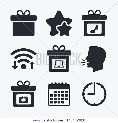 Gift box sign icons. Present with bow symbols. Photo camera sign. Woman shoes. Wifi internet, favorite stars, calendar and clock. Talking head. Vector