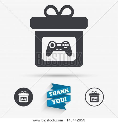 Gift box sign icon. Present with video game joystick symbol. Flat icons. Buttons with icons. Thank you ribbon. Vector