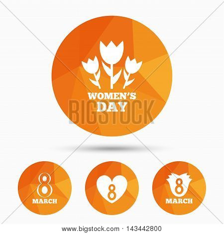 8 March Women's Day icons. Tulips or rose flowers bouquet and heart sign symbols. Triangular low poly buttons with shadow. Vector