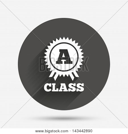 A-class award icon. Premium level symbol. Energy efficiency sign. Circle flat button with shadow. Vector