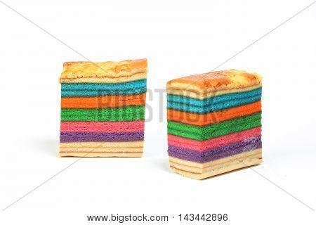 Colorful Rainbow Layer cake kuih lapis various flavor