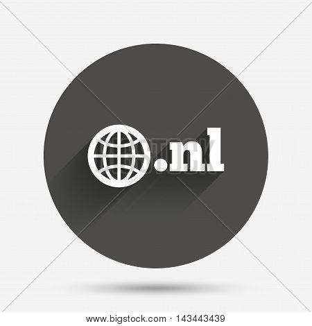 Domain NL sign icon. Top-level internet domain symbol with globe. Circle flat button with shadow. Vector