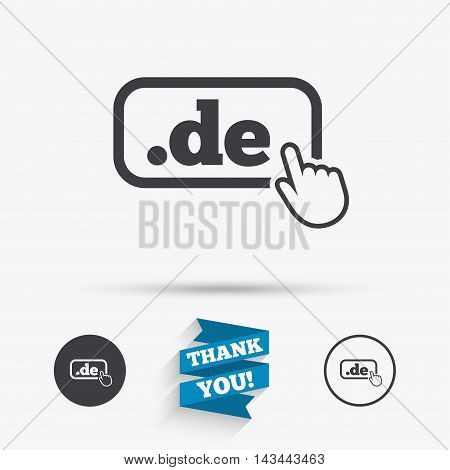Domain DE sign icon. Top-level internet domain symbol with hand pointer. Flat icons. Buttons with icons. Thank you ribbon. Vector