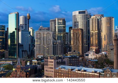 Sydney Central Business District skyscrapers against blue sky on the background. Urban landscape view from above. NSW Australia