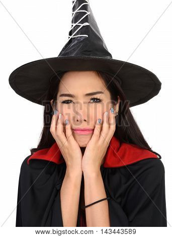 Cute witch look so scared and will be cry on white background.