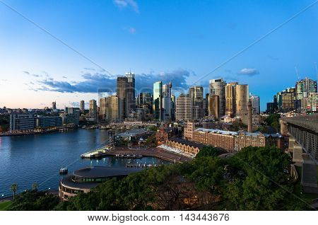 Central Business District skyscrapers on sunrise. Urban landscape view from above. Circular Quay Sydney Australia