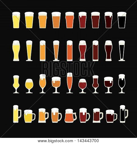 Rows of beer from light to dark in variety of glasses and mugs. Beer icons. Vector illustration