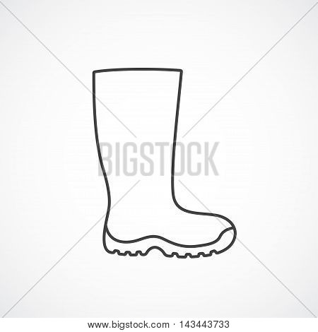 Icon male rubber boots. Vector line icons