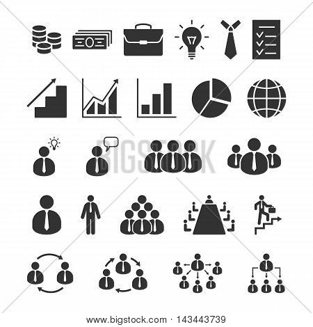 Business icons vector set. Office finance business management human resource