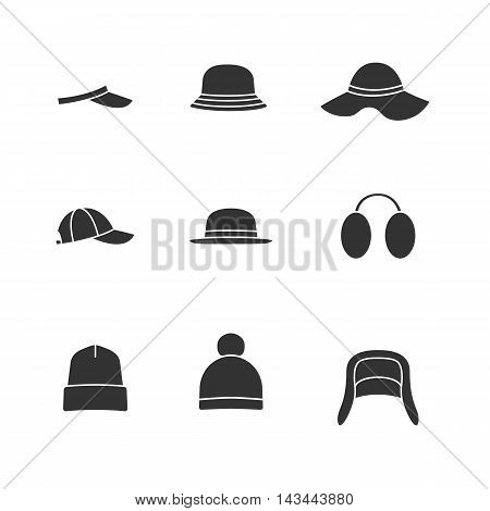 Caps and hats icon set. Vector black icons