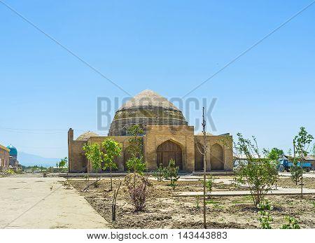 The small brick Chorsu bazaar in old town is under restoration Shakhrisabz Uzbekistan.